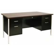 Sandusky® 60x30x29-1/2,500 Series Double-Pedestal Desk: Black/Walnut
