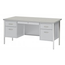 Sandusky® 60x30x29-1/2,500 Series Double-Pedestal Desk: Gray/Gray