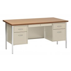 Sandusky® 60x30x29-1/2,500 Series Double-Pedestal Desk: Putty/Oak