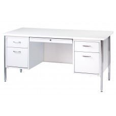 Sandusky® 60x30x29-1/2,500 Series Double-Pedestal Desk: White/Arctic White