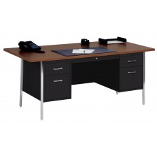 Sandusky® 72x36x29-1/2,500 Series Double-Pedestal Desk: Black/Walnut