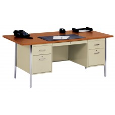 Sandusky® 72x36x29-1/2,500 Series Double-Pedestal Desk: Putty/Oak