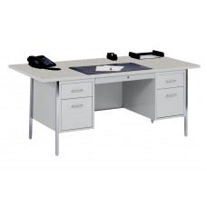 Sandusky® 72x36x29-1/2,500 Series Double-Pedestal Desk: Gray/Gray