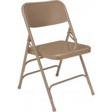 Beige Premium All-Steel Brace Double Hinge Folding Chairs Carton of 4