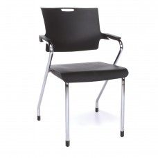 OFM Core Collection Smart Series Plastic Stack Chair, in Black (304-P-P0)