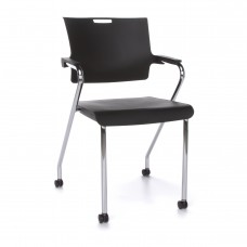 OFM Core Collection Smart Series Plastic Stack Chair with Casters, in Black (304-P0-CAS)