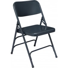 Char-Blue Premium All-Steel Brace Double Hinge Folding Chairs Carton of 4