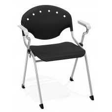 OFM Core Collection Rico Series Plastic Stack Chair with Arms, in Black (306-P0)