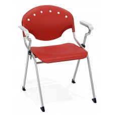OFM Core Collection Rico Series Plastic Stack Chair with Arms, in Red (306-P1)