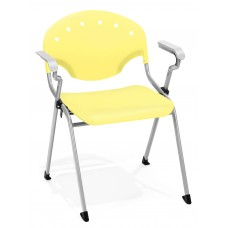 OFM Core Collection Rico Series Plastic Stack Chair with Arms, in Yellow (306-P23)