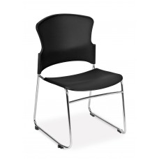 Multi-Use Stack Chair with Plastic Seat & Back, Black