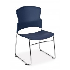 Multi-Use Stack Chair with Plastic Seat & Back, Navy