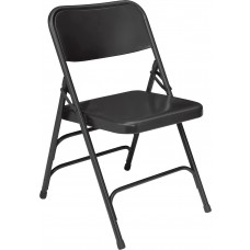 Black Premium All-Steel Brace Double Hinge Folding Chairs Carton of 4