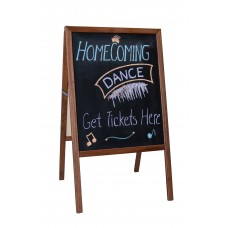 """42"""" H x 24"""" W Marquee Easel (stained hardwood) Two Black Chalkboards"""