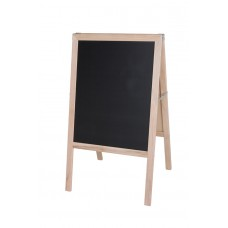 """42"""" H x 24"""" W Marquee Easel (natural hardwood)  Two Black Chalkboards"""