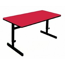 """Adjustable Height 1 1/4"""" High Pressure Top Computer/Training Tables  - 24x36"""" - Red"""