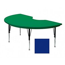 "Blow-Molded Plastic Top Activity Tables - 48x72"" kidney - Blue"