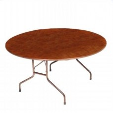 "Solid High-Pressure Plywood Core Folding Tables - 60"" round - Walnut"