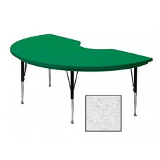 "Blow-Molded Plastic Top Activity Tables - 48x72"" kidney - Grey Granite"