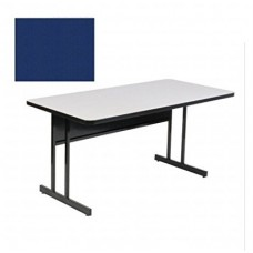 """Keyboard Height Blow-Molded Plastic Top Computer/Training Tables - 30x72"""" - Blue"""