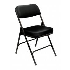 "Black 2"" Vinyl Upholstered Seat Folding Chairs Carton of 2"