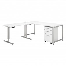 Bush Business Furniture 400 Series 72W L Shaped Desk with Height Adjustable Return and Storage