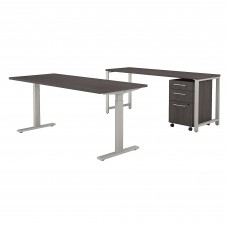Bush Business Furniture 400 Series 72W x 30D Height Adjustable Standing Desk with Credenza and Storage