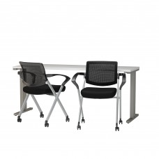 Bush Business Furniture 400 Series 72W x 24D Training Table with Mesh Back Folding Chairs Set of 2