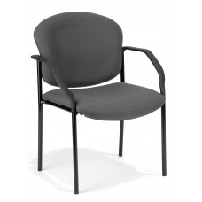 OFM Manor Series Deluxe Upholstered Stacking Guest Chair, Gray