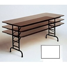 """Adjustable Height 3/4"""" High Pressure Top Folding Table - 24x60"""" - White"""