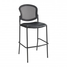 Diaz™ Bistro-Height Mesh Back - Black Vinyl - Black Vinyl