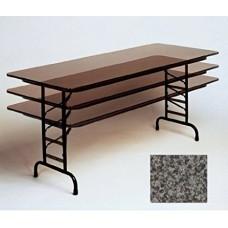 "Adjustable Height Melamine Top Folding Table - 36x96"" - Black Granite"
