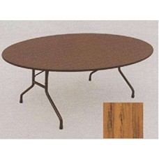 "Solid High-Pressure Plywood Core Folding Tables - 60"" oval - Med Oak"