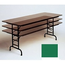 """Adjustable Height 3/4"""" High Pressure Top Folding Table - 30x60"""" - Green"""