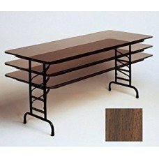 "Adjustable Height Melamine Top Folding Table - 36x96"" - Walnut"