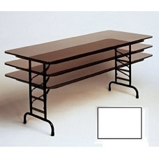 """Adjustable Height 3/4"""" High Pressure Top Folding Table - 24x48"""" - White"""