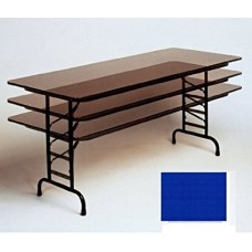 """Adjustable Height 3/4"""" High Pressure Top Folding Table - 24x48"""" - Blue"""