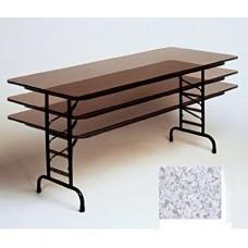 "Adjustable Height Melamine Top Folding Table - 24x60"" - Gray Granite"