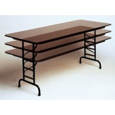 """Adjustable Height Solid High-Pressure Plywood Core Folding Tables - 30x60"""" - Med Oak"""