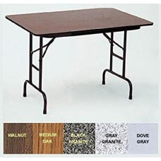 "Adjustable Height Melamine Top Folding Table - 30x72"" - Black Granite"