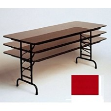 """Adjustable Height 3/4"""" High Pressure Top Folding Table - 36x96"""" - Red"""