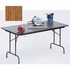 """Solid High-Pressure Plywood Core Folding Tables - 30x60"""" - Med Oak"""
