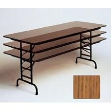 "Adjustable Height Melamine Top Folding Table - 24x72"" - Med Oak"