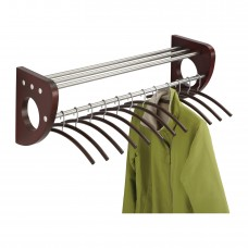 "Mode™ 36"" Wood Wall Coat Rack With Hangers - Mahogany/Silver"