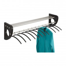 "Mode™ 48"" Wood Wall Coat Rack With Hangers - Black/Silver"