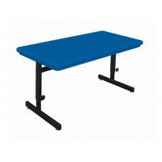 """Adjustable Height Blow-Molded Plastic Top Computer/Training Tables - 30x72"""" - Blue"""