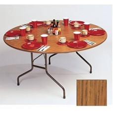 "Solid High-Pressure Plywood Core Folding Tables - 60"" round - Med Oak"
