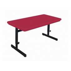 """Adjustable Height Blow-Molded Plastic Top Computer/Training Tables - 30x72"""" - Red"""