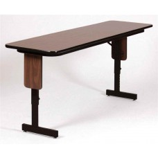 "Adjustable Height 3/4"" High Pressure Folding Seminar Table with Panel Leg - 18x60"" - Dove Gray"