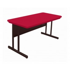 """Blow-Molded Plastic Top Computer/Training Tables - 30x60"""" - Red"""